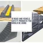 Vehicle Safety Products: Wheel Chocks, Speed Ramps and a Wall Guard.