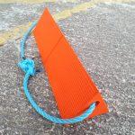 orange lightweight roped chock